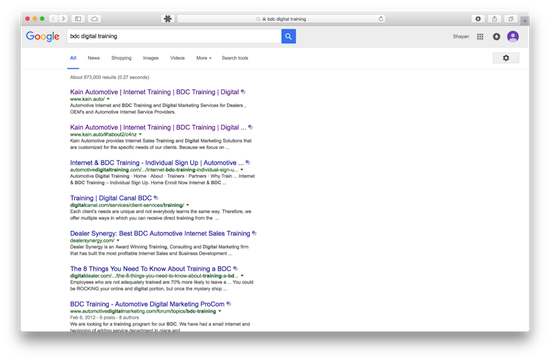 Screenshot of Google results showing Kain.Auto ranking on page one for bdc digital training