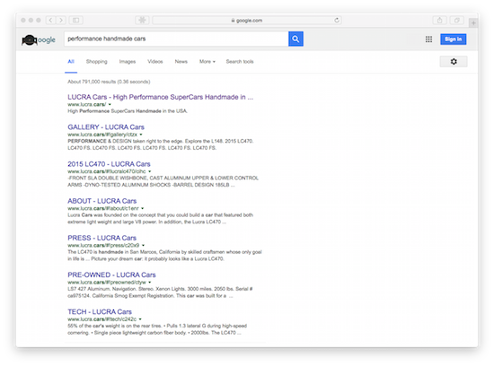 Screenshot of Google results showing Lucra.Cars ranking on page one for performance handmade cars