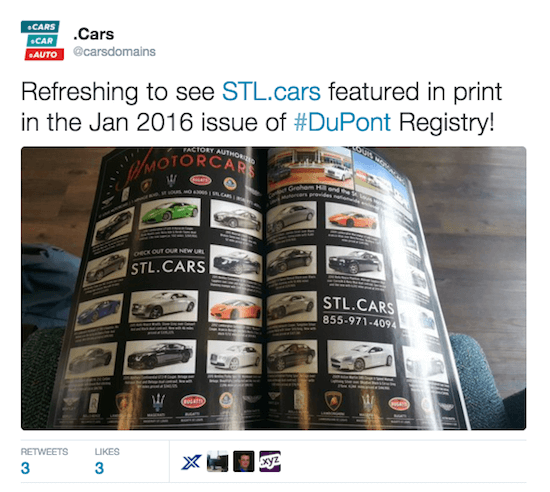 Twitter post by @carsdomains: Refreshing to see STL.cars featured in print in the Jan 2016 issue of #DuPont Registry!
