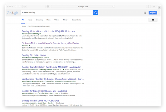 Screenshot of Google results showing STl.cars ranking on page one for st louis bentley